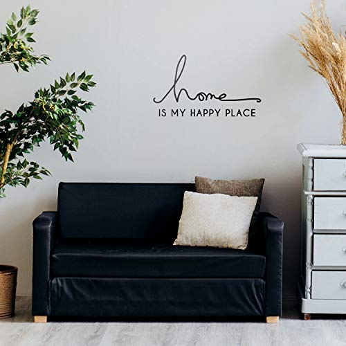 Vinyl Wall Art Decal - Home is My Happy Place - 12' x 22' - Modern Cursive Love Quote for Couples Home Apartment Bedroom Living Room Dining Room Household Indoor Outdoor Decor (12' x 22', Black)