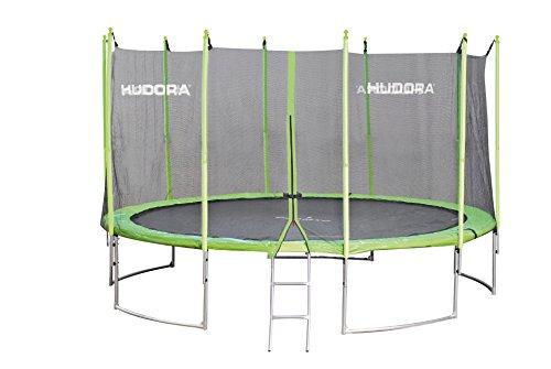 HUDORA Family Trampolin 400 cm, grün/schwarz - Garten-Trampolin mit Sicherheitsnetz, Leiter und Randabdeckung - Einkarton-Variante