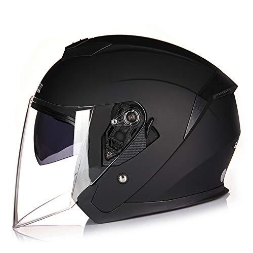 X.N.S(希望)バイクヘルメット ジェット ヘルメット 四季通用 半キャップ ヘルメット ダブルシールド アンチショック XNS-522 (L:頭囲57-58CM, マットブラック)