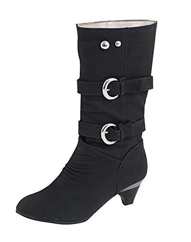 ShallGood Donna Moda Aumenta Inverno Gli Stivali Alti Medi Tacco alto Low Heel Punta Boots Nero EU 37