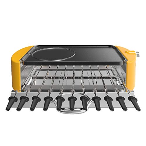 Teppanyaki Grills Teppan Yaki Grill, Automatisch Drehbare Elektrische Grillplatte, Doppelseitiger Tischgrill Nach Hause, Automatische Spießmaschine, Kapazität Für 3-10 Personen ( Color : Yellow )