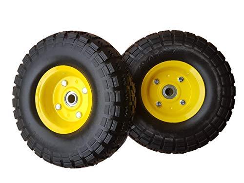 2 x Frosal PU Bollerwagen Ø 260 mm 4.10/3.50-4 | Ersatzrad Reifen Sackkarre | Achse 16 mm | Rad pannensicher mit Kugellager | Stahlfelge Gelb