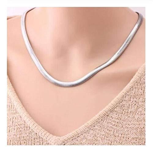 SHOYY Collar de Plata 100% Nueva Serpiente de la joyería Collar de Hueso for el Hombre 6MM de la Personalidad del Estudiante clavícula Masculino (Color : 61CM)