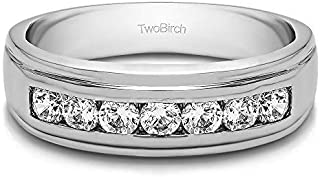 TwoBirch Sterling Silver Channel Set Princess Cut Men's Wedding Ring With Cubic Zirconia(1Ct. Size 9.5)