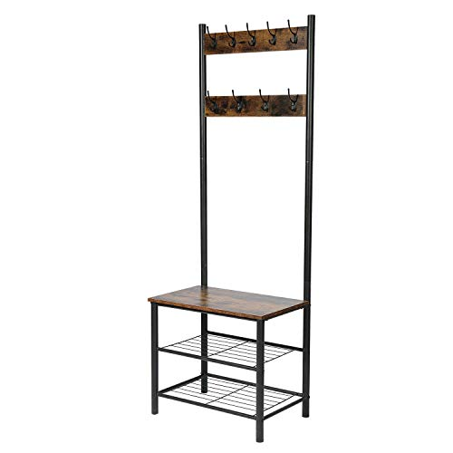 CHADIOR, Shoe Bench, Industrial Hall Tree, Entryway Storage Shelf Stand with Hooks, Wood Look Accent Furniture, 3-in-1 Design Easy Assembly Coat Racks, Neutral