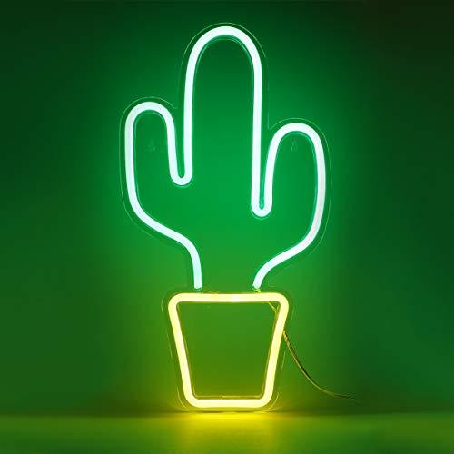 OSALADI Kaktus Führte Neonlichter USB-Aufladung Leuchtreklame Dekorative Licht Neon Nachtlicht Dekor für Weihnachten Geburtstag Hochzeit Party Kinderzimmer Wohnzimmer Wand