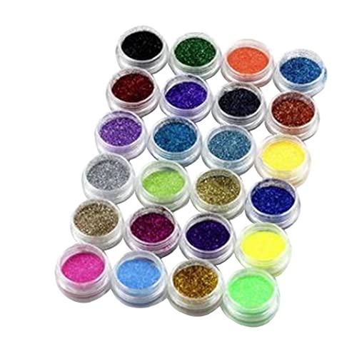 Glitter Nail Ultra Fine Chrome Poudre Nail 24 Rainbow Color Décoration Glitter Poudre poussière Nail Art