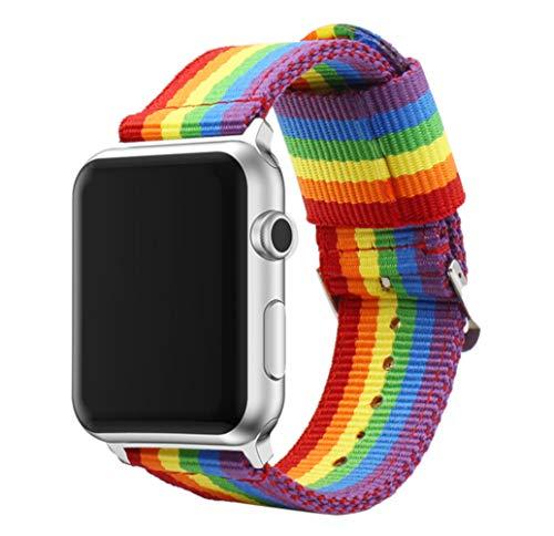 ESTUYOYA - Pulsera de Nailon Compatible con Apple Watch Colores Orgullo Gay LGBT Ajustable Estilo Deportiva Casual Elegante para 38mm 40mm Series 6/5 / 4/3 / 2/1 / SE/Nike+