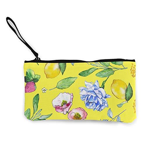 Wrution Geldbörse/Geldbörse aus Segeltuch, mit Reißverschluss, Blumenmuster, Pastellfarben
