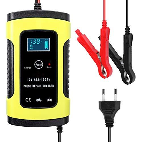 12V 6A automático Lleno de la batería de Coche Cargador de la energía del Pulso reparación Cargadores seco Mojado de la batería de Plomo-Cargadores Pantalla LCD Digital (Color : EU Plug Yellow)