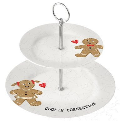 Présentoir à gâteaux en porcelaine 2 étages de cookie connection pPD