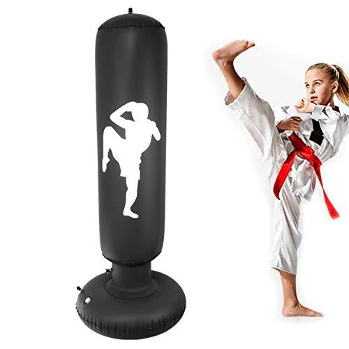 Nabance Boxsack Kinder 150CM Standboxsack Aufblasbare Boxsäule Tumbler Punching Tower Sofortiges Zurückprallen Fitness Sandsäcke für Kinder und Erwachsene zum Üben von Karate Taekwondo Schwarz