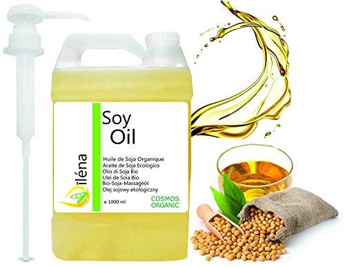 Oïléna Huile de massage Biologique de Soja, Huile corporelle Organique pour massages et hydratant Pressée à froid, Vegan, 100% pure et légère (1000 ml)