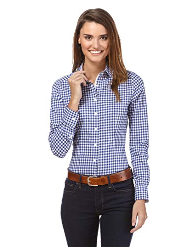 Vincenzo Boretti Damen Bluse kariert leicht tailliert 100% Baumwolle bügelleicht Langarm Hemdbluse elegant festlich Kent-Kragen auch für Business und unter Pullover blau/weiß 42