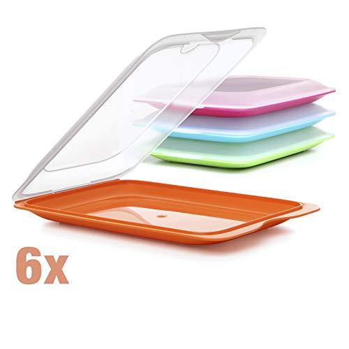 TATAY Satz von 6 Wurstbehälter FRESH System, Zwei Einheiten in Grün, Orange, Blau und Rosa Sortierte Farben Enthalten, Maßnahmen 17 x 3.2 x 25.2 cm