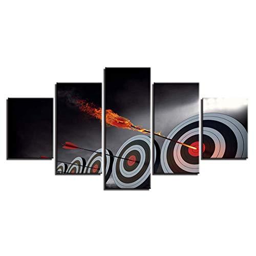 AYogg 5 Impresiones sobre Lienzo Arte de la Pared Impresión en Alta definición Pinturas en Lienzo 5 Piezas Flecha Objetivo Cartel Decoración del hogar Moderno para Sala de Estar Marco Modular