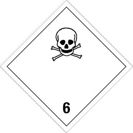 Gefahrgutschild aus Aluminium - Giftige Gase Klasse 6.1 - 30 x 30 cm