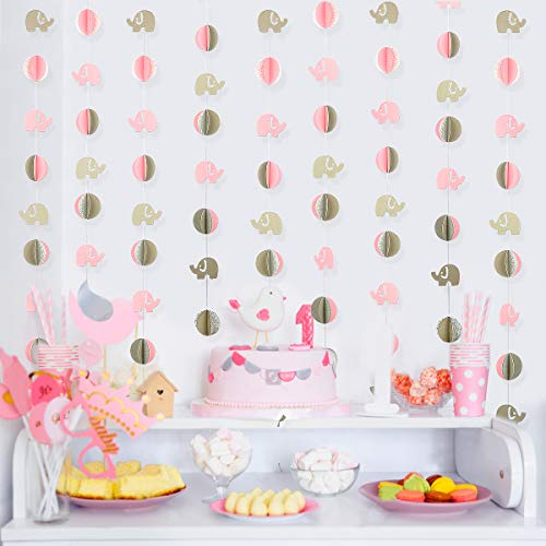 39 Ft Double Sided Pink Elephant Garland Decorations Kit Baby Pink Elephant Gray Elephant 3d Circle Banner Decorations Birthday Party Supplies Baby Nursery Baby Shower Decorations (Blue+Gray+Silver)