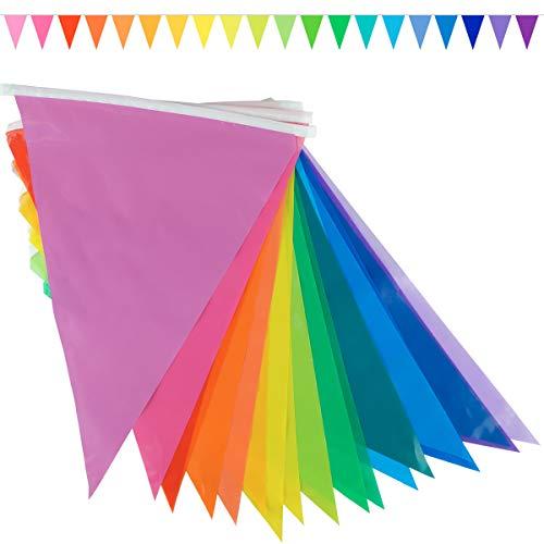goodymax® Wimpelkette 10 m Farbverlauf 20 Farben Regenbogen Rainbow