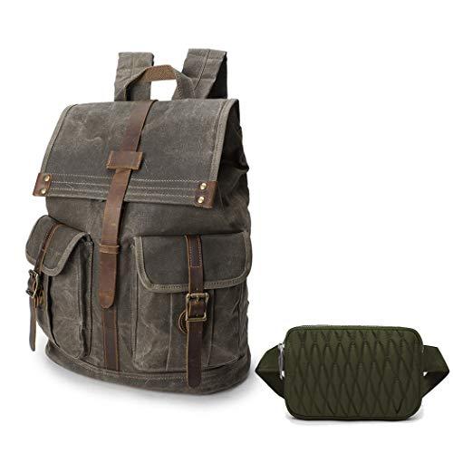 Wind Took 15,6 Zoll Rucksack Daypack aus Leder für Uni Büro Alltag mit Laptopfach Wasserdicht, Grün und Bauchtasche