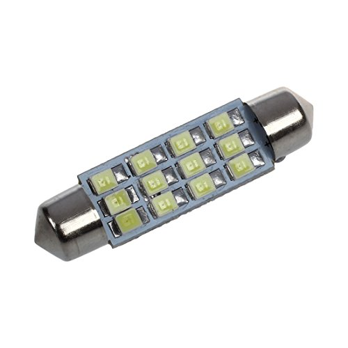 SODIAL(R) 42mm 12 SMD 3528 LED Blanc Voiture Interieur c5w Dome Feston Ampoule Lampe DC 12V