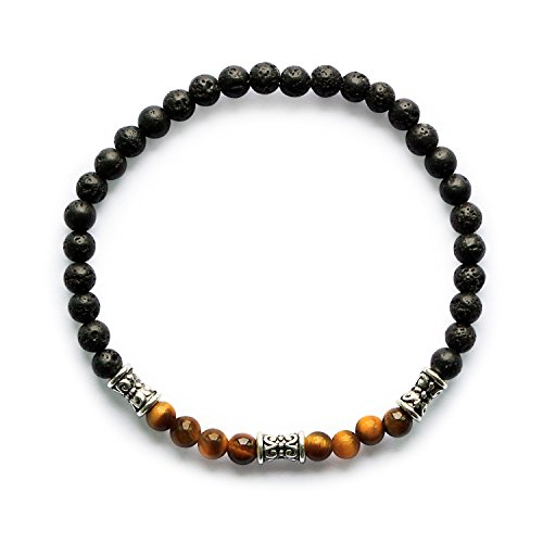 "Me&Hz Mens Womens Tiger Eye Brown Beads Stretch Bracelet 7 Chakra Diffuser Bracelets Mala Prayer Bracelet Set 4mm Semi Precious Gemstones 7"" Unisex"