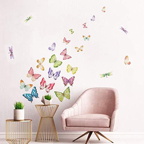 ufengke Adesivi Murali Farfalle Adesivi Muro Libellula Colorata per Camere da Letto Bambini Ragazza SoggiornoDecorazioni Parete