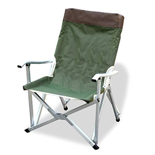 Miwaimao Chaise de camping pliable en plein air robuste et compact Accoudoir stable sac de transport chaises pliantes pêche de plage -Vert armée L