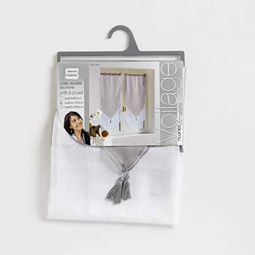 Douceur d'Intérieur 1620391 - Tende a vela, 2x60/160 cm, colore: Bianco/Grigio