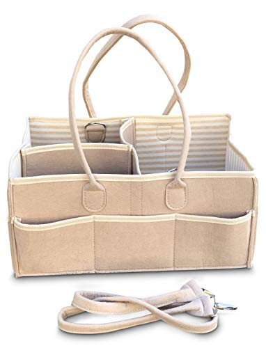 Baby Diaper Caddy Organizer Bag -Organic Cotton Lining | Essential for Changing Station Table | Hypoallergenic Nursery Storage Bin Ex Large for wipes, diapers, & cream |Baby Shower Registry Must Have