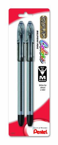 Pentel R.S.V.P. COLORS BallPoint Pen, Medium Line, Black Ink, Pack of 2 (BK91CRBP2A)