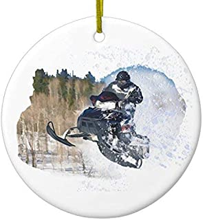 Wini2342ckey Christmas Hanging Ornament Airborne Snowmobile Ceramic Ornament