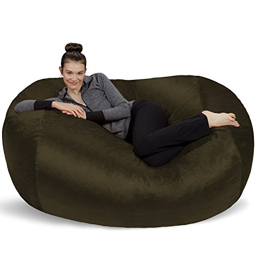 Sofa Sack - Plush Bean Bag Sofas with Super Soft Microsuede Cover - XL Memory Foam Stuffed Lounger Chairs for Kids, Adults, Couples - Jumbo Bean Bag Chair Furniture - Olive 6'
