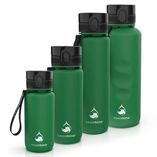 coolrhino Trinkflasche 350ml für Sport, Outdoor, Schule, Fitness & Kinder - Wasserflasche auslaufsicher und Bpa frei - Flasche für Kohlensäure geeignet (Rhino Forest green, 350ml)
