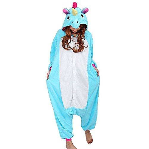 QUMAO (Altezza 150-160cm) Costume Anime Unicorno Cosplay Pigiama Animale Unisex Adulti Halloween Festa Sleepwear Tuta Intera Flanella