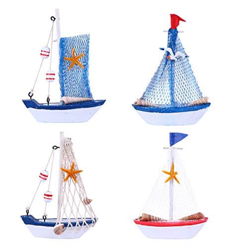 TomaiBaby 4 piezas de madera Mini velero modelo miniatura barco de velo, barco náutico decoración para náutica playa contera de boda decoración