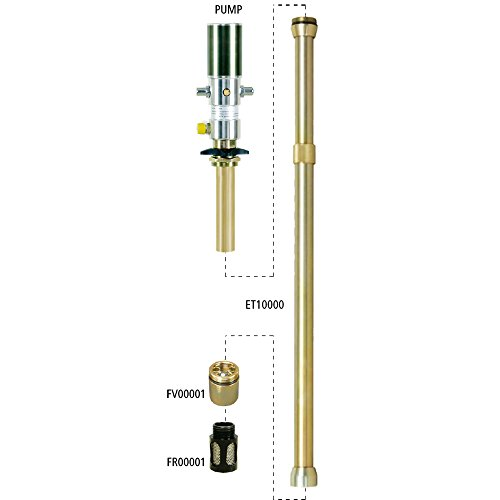 """Lubeworks Oil Transfer Pump Extension Tube 30"""" inch Shaft 42mm / 1-5/8"""" Inch Diameter Heavy Duty Air Operated Pneumatic Oil Pumps for Motor, Synthetic Hydraulic, Gear Oil, Transmission, Anti-Freeze"""