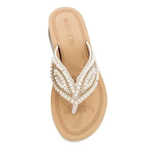 TianBin Frauen Mode Sommer Glitzer Perlen Sandalen Flip Flops Strand Flach T-Strap Zehentrenner Bequeme für Damen (Weiß, 38 EU)