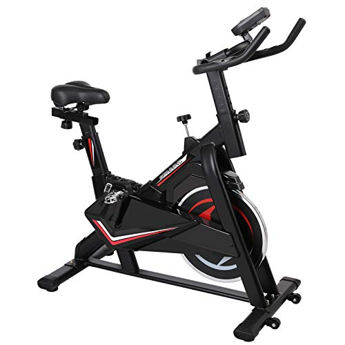 Femor Spinning Cyclette, Bici da Esercizio Bicicletta con Regolazione Continua della Resistenza, La Pelle Bovina ha Sentito Resistenza, Display LCD con Visualizzazione Dati, Max 150 kg