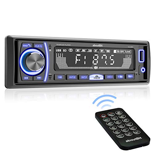 Multimedia-Stereo-Autoradio, aboutBit Single-Din-LCD-Autoradio, Bluetooth-Freisprechen, eingebautes Mikrofon, FLAC / MP3, RGB-Licht, Aux-In, AM-FM-Radioempfänger