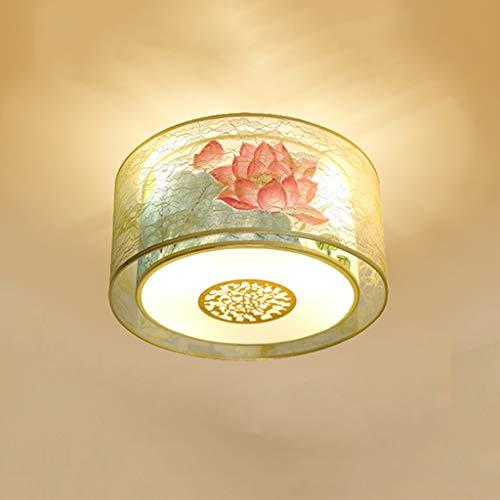 YANQING Duurzame Plafondlampen Chinese LED Plafondlamp Stof Dubbele lampenkap Ronde Slaapkamer Woonkamer Creatieve Plafondlamp Decoratie Plafondlampen (Kleur : A)