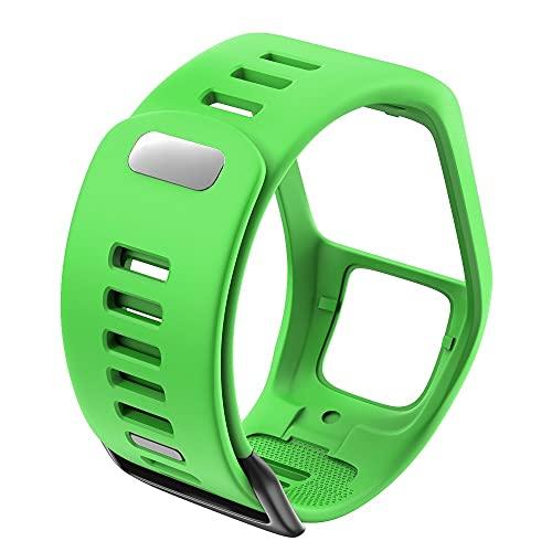 LLKHFA Silicona Reemplazo de Pulsera Reloj Correa para Tomtom Runner 2 3 Spark 3 GPS Reloj Deportivo para Tomtom 2 3 Series Soft Smart Band (Band Color : Green)