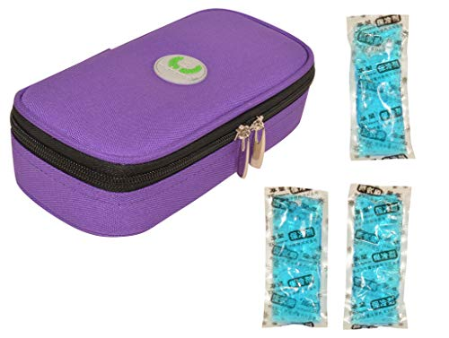 CHILDHOOD Waterproof Insulin Cooler Travel Case Temperature Display Medication Insulated Cooling Bag with 3 Ice Packs (Purple)