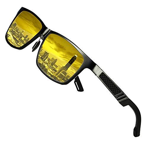 DUCO Occhiali da guida notturni polarizzati antiriflesso da uomo e da donna Occhiali da guida gialli da visione notturna HD 2217