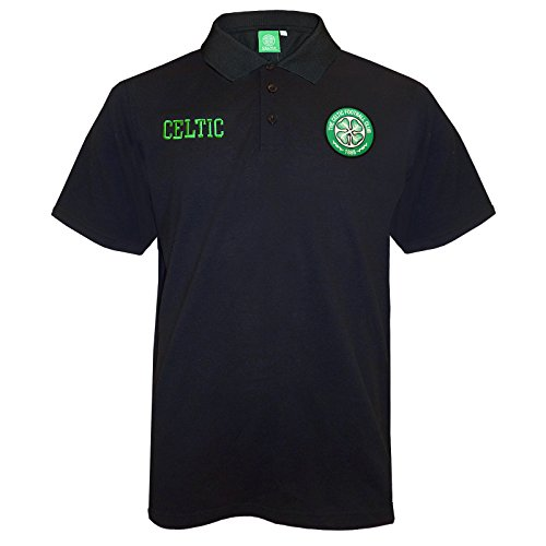 Celtic Football Club Official Soccer Gift Mens Crest Polo Shirt Black XL