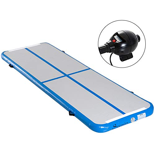Soozier 10' Inflatable Portable Air Track Gymnastics Ballet Martial Arts Recreational Indoor Mat - Blue