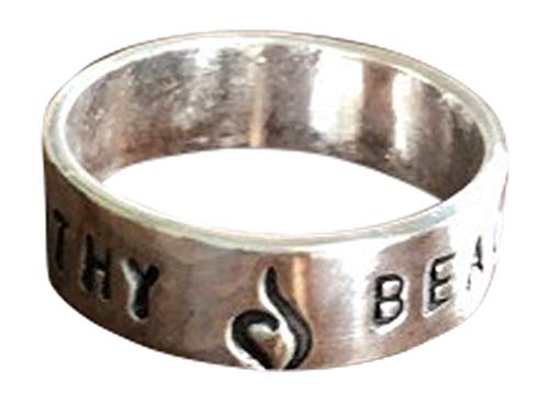K & S Impressions Personalized Recovery Gift Ring, Inspirational Gift- Sobriety Gift- NEDA Symbol for Anorexia and Bulimia
