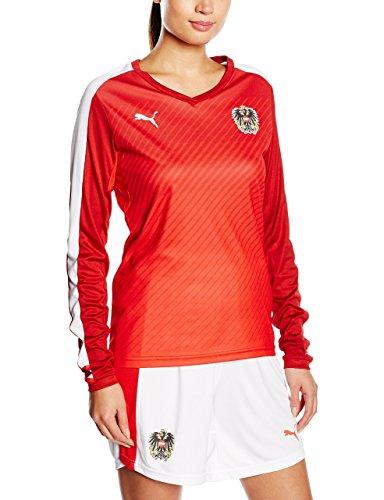 Puma–Sudadera de la selección de Austria WMS con Capucha de Manga Larga para Hombre, Mujer, Sweatshirt Austria WMS Long Sleeve Shirt, Rojo/Blanco, Medium