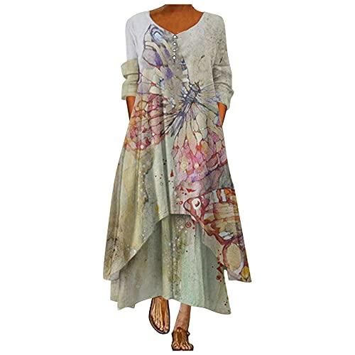 STOREYH Unregel, abito da donna, elegante, in stile bohémien, con stampa a maniche lunghe, girocollo, per vacanze, maxi abito da spiaggia, sottogonna, A-verde, M