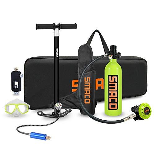 LXH-SH Equipo de Buceo Equipo de Buceo con escafandra del Tanque, 1L Mini portátil de bombonas de oxígeno con 15-20 Minutos Mini Equipo de Buceo (Color : Green)